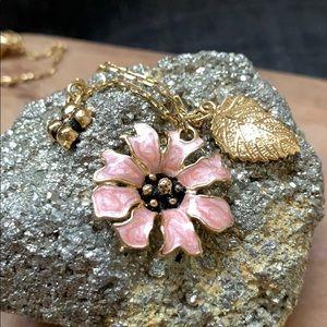 Anthropologie Enamel Flower/Leaf/Clover Necklace